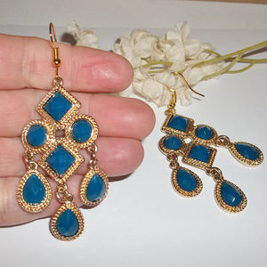 Chandelier Earrings Statement Set Blue & Gold 4685